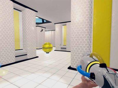 Gelber Droide zu gelber Wand