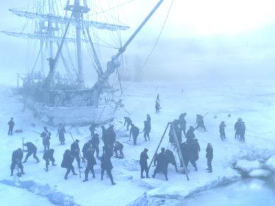 Die Crew auf dem Eis
